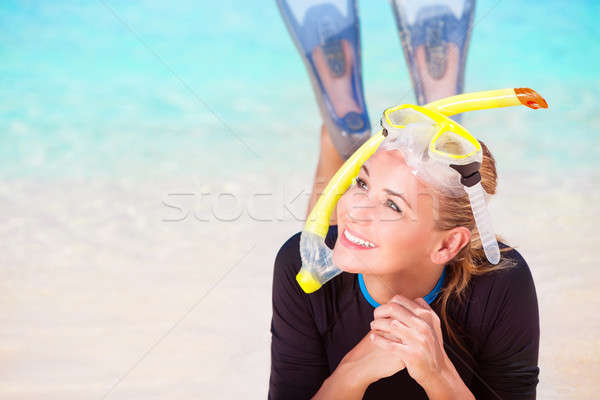 Feliz turísticos nina buzo mujer Foto stock © Anna_Om