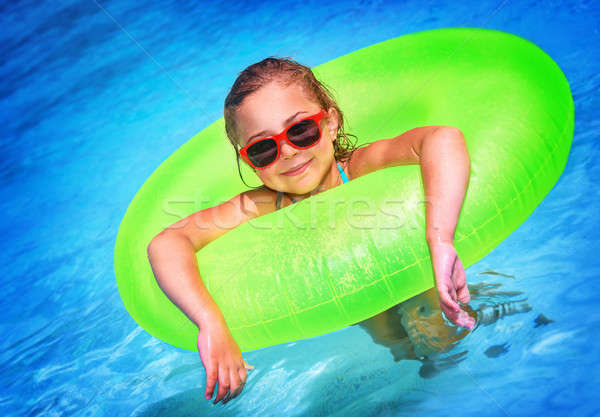 Küçük kız havuz sevimli yüzme havuzu büyük parlak Stok fotoğraf © Anna_Om
