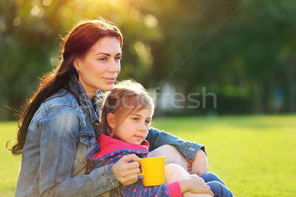 Mutlu aile hayat portre güzel genç anne Stok fotoğraf © Anna_Om