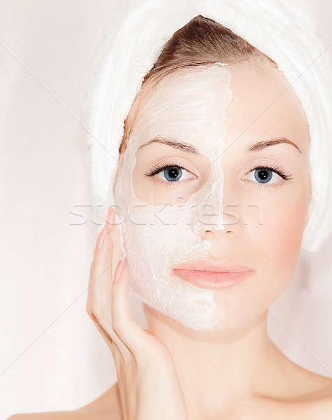 Facial mask on beautiful face Stock photo © Anna_Om