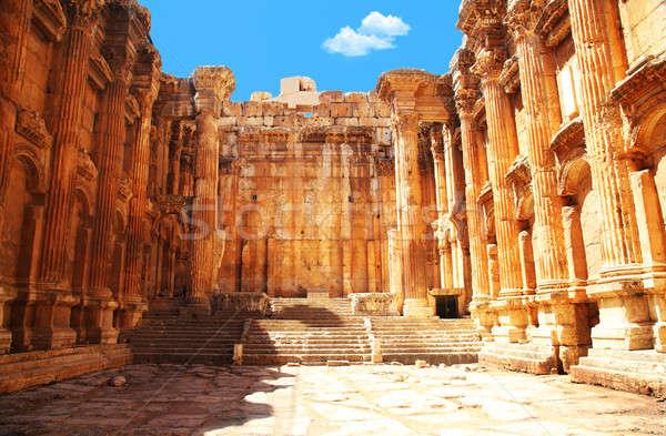 Templom Libanon ősi római oszlopok épület Stock fotó © Anna_Om