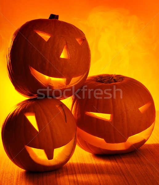 Halloween glowing pumpkins Stock photo © Anna_Om
