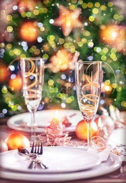 New Year table setting Stock photo © Anna_Om