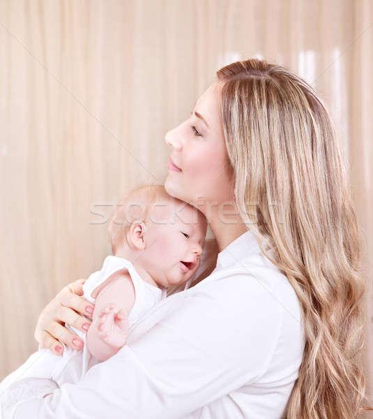 Foto stock: Feliz · mãe · bebê · retrato · belo · jovem