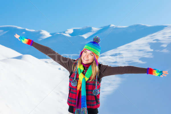 Happy woman in snowy mountains Stock photo © Anna_Om