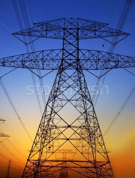 Elektriciteit blauwe hemel milieu schade bouw technologie Stockfoto © Anna_Om
