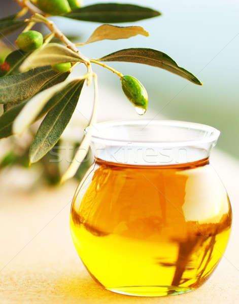 Rijp vers groene olijven olijfolie tak Stockfoto © Anna_Om