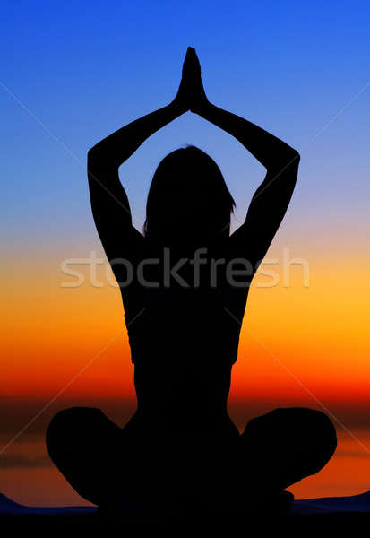 Yoga woman over sunset Stock photo © Anna_Om