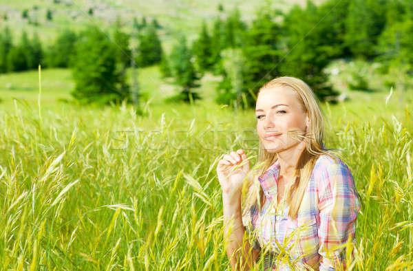 かわいい 少女 麦畑 ブロンド 女性 座って ストックフォト © Anna_Om