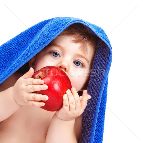 Csinos kisgyerek eszik alma közelkép portré Stock fotó © Anna_Om