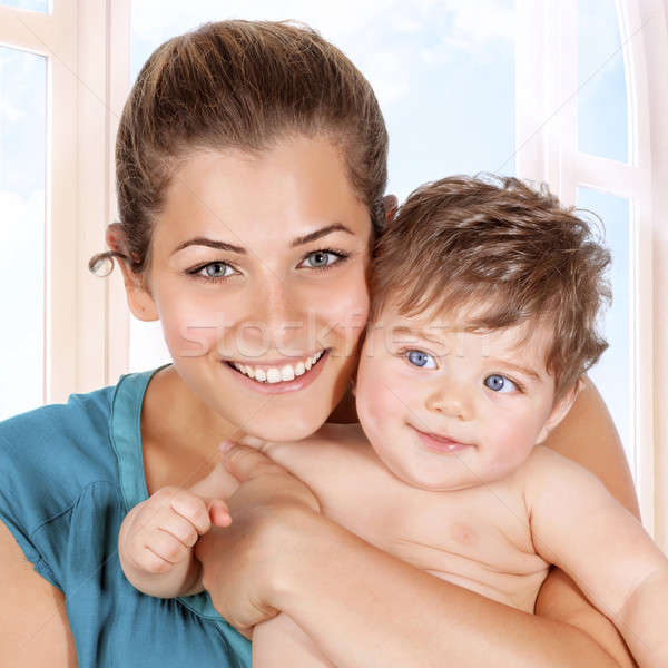 Happy mother and baby boy Stock photo © Anna_Om
