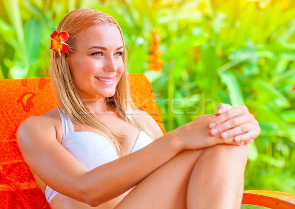 Vrouwelijke genieten zomer vakantie cute tropische Stockfoto © Anna_Om