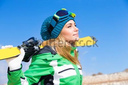 счастливым лыжник девушки портрет Cute Сток-фото © Anna_Om