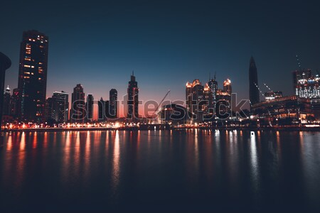 Stock fotó: Dubai · belváros · éjszaka · gyönyörű · izzó · fények