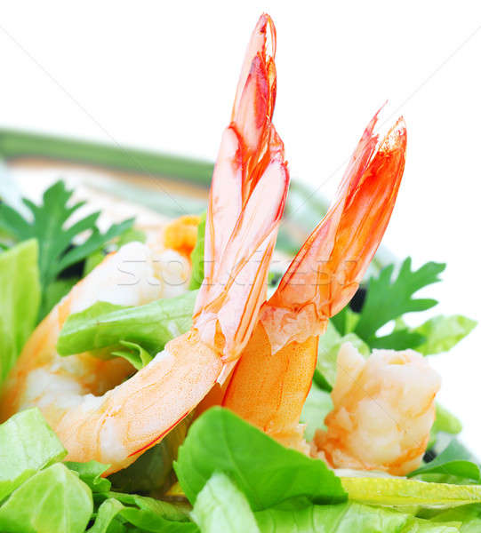 Crevettes salade vert isolé blanche Photo stock © Anna_Om