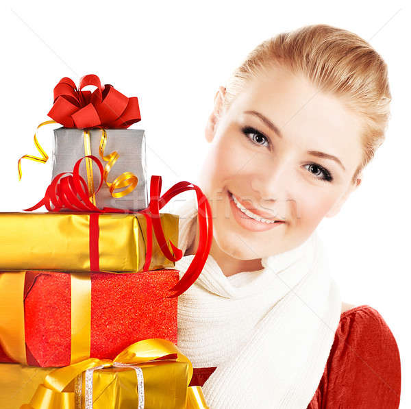 Beautiful female holding gifts Stock photo © Anna_Om