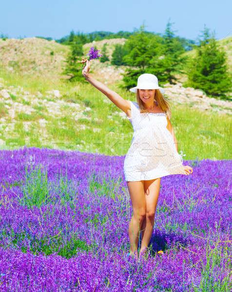 Meisje lavendel glade cute witte Stockfoto © Anna_Om