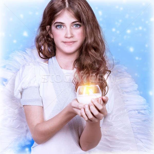 Teen girl anioł portret cute Zdjęcia stock © Anna_Om