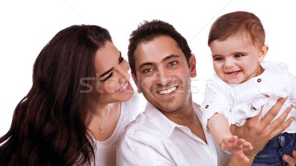 Fiatal családi portré közelkép portré szülők hordoz Stock fotó © Anna_Om