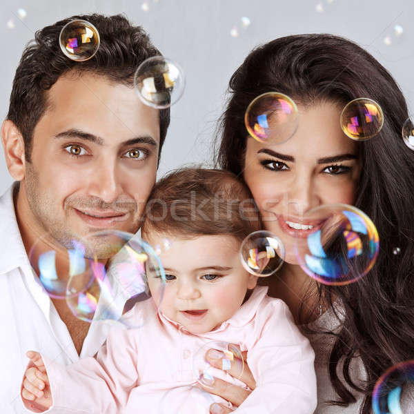 Bulles de savon portrait cute peu Photo stock © Anna_Om