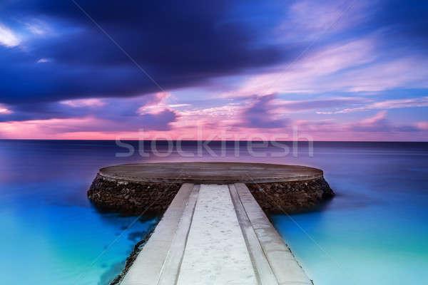Bella pier tramonto drammatico viola blu Foto d'archivio © Anna_Om