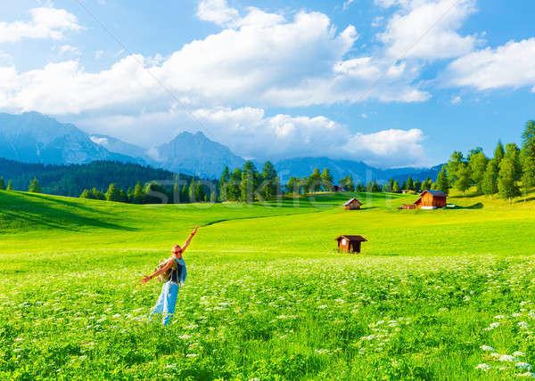 Happy traveler girl in mountainous valley Stock photo © Anna_Om