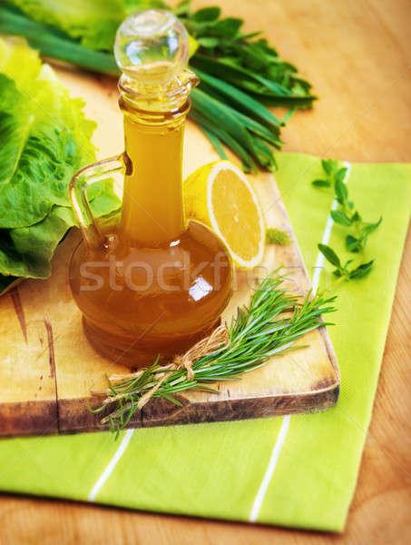 オリーブオイル 静物 ボトル おいしい サラダドレッシング まな板 ストックフォト © Anna_Om