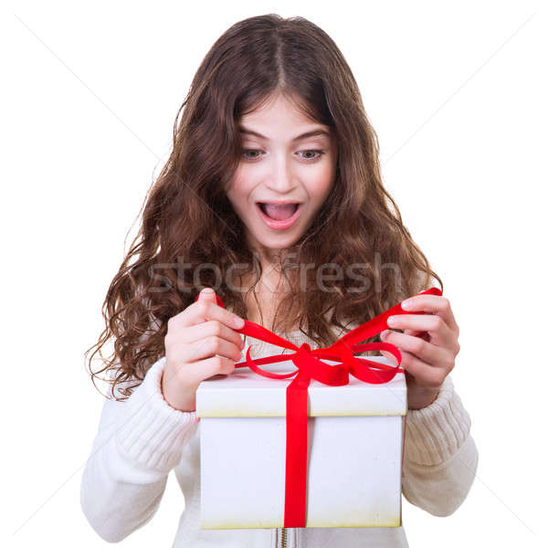 Boldog lány ajándék portré aranyos derűs tinilány Stock fotó © Anna_Om
