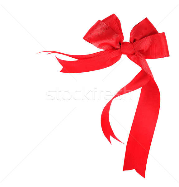 Stock photo: Beautiful red ribbon & bow isolated
