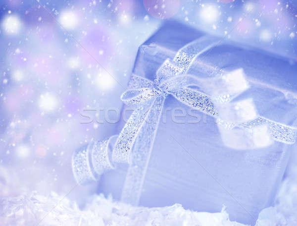 Apresentar caixa de presente inverno férias azul prata Foto stock © Anna_Om