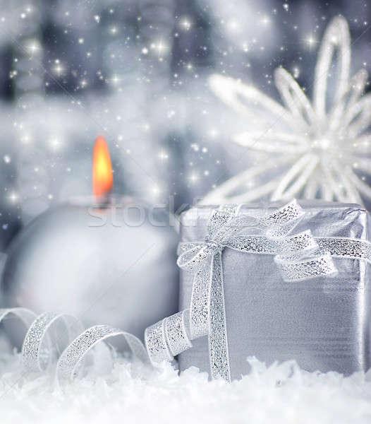 Belo prata dom inverno férias apresentar Foto stock © Anna_Om
