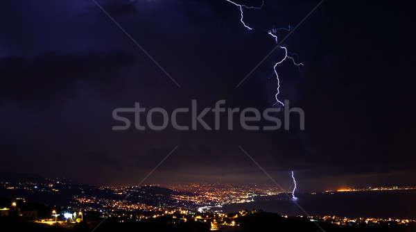Lightning, thunder storm at night sky Stock photo © Anna_Om
