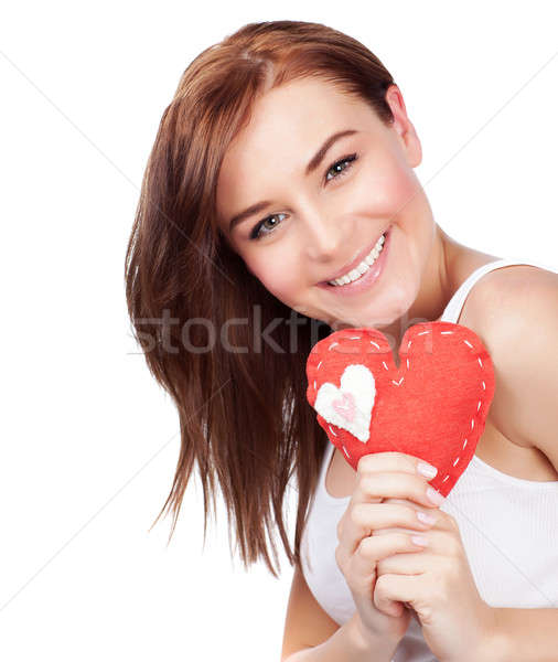 Woman with heart soft toy Stock photo © Anna_Om