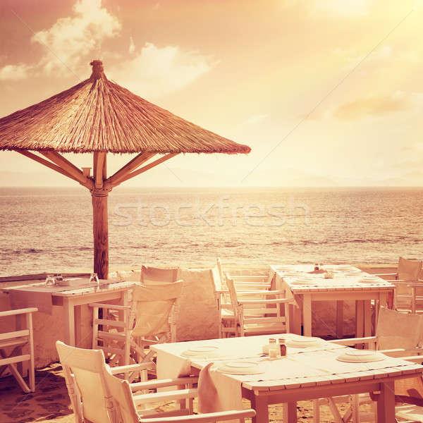 Cozy restaurant on the beach Stock photo © Anna_Om