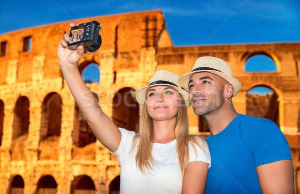 Beautiful couple near Coliseum Stock photo © Anna_Om