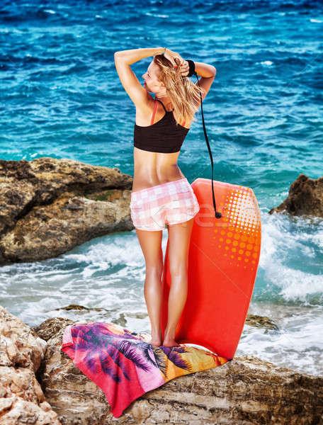 Woman enjoying beach activity Stock photo © Anna_Om