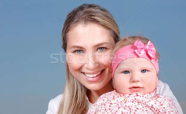 Stok fotoğraf: Mutlu · anne · küçük · bebek · portre