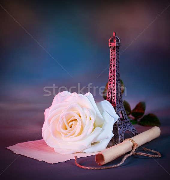 Zdjęcia stock: Miłości · list · zdjęcie · piękna · w · stylu · retro · martwa · natura