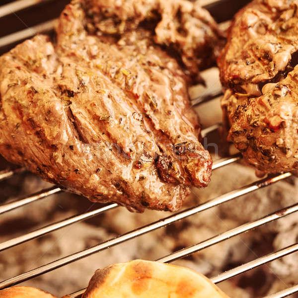Gegrild vlees biefstuk foto smakelijk barbecue Stockfoto © Anna_Om