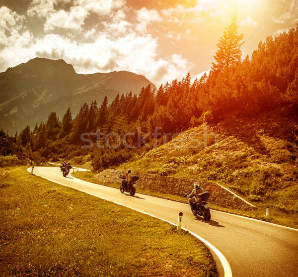 Bikers on mountains road in sunset Stock photo © Anna_Om