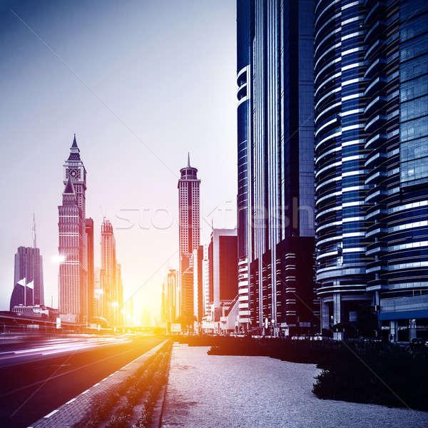 Dubaï ville centre-ville lumineuses soleil lumière Photo stock © Anna_Om