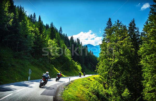 Motorosok turné utazás Európa görbe autópálya Stock fotó © Anna_Om