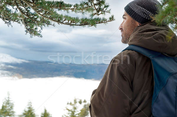 旅人 山 戻る サイド 男 立って ストックフォト © Anna_Om