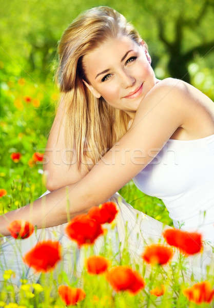 Lovely girl enjoying nature Stock photo © Anna_Om
