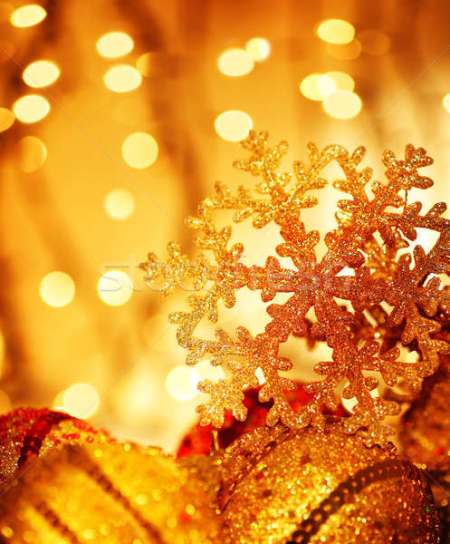 Golden Christmas tree decorations Stock photo © Anna_Om