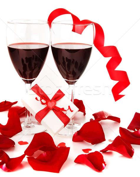 Zdjęcia stock: Romantyczny · wakacje · dar · uroczystości · wino · czerwone · serca