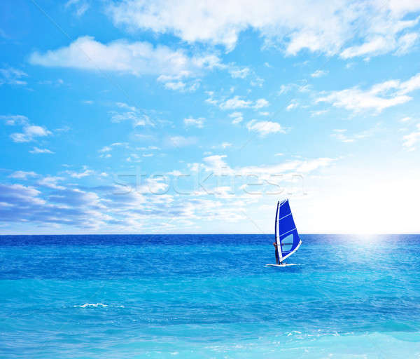 Beach landscape with windsurfer playing Stock photo © Anna_Om