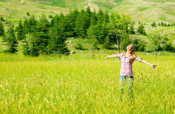 Stok fotoğraf: Mutlu · kız · doğa · genç · kadın · güzel