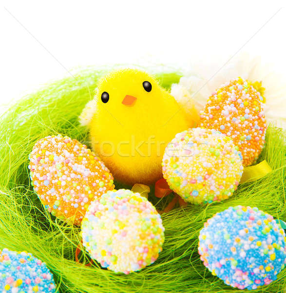 Colorful eggs with little chick Stock photo © Anna_Om