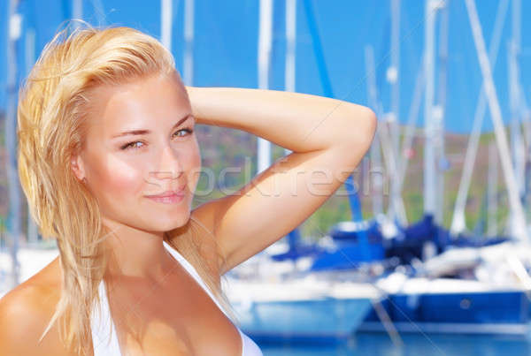 Belle femme voilier port portrait yacht Photo stock © Anna_Om
